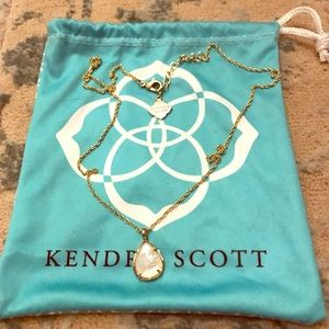 Kendra Scott Kiri Gold Necklace with White Stone